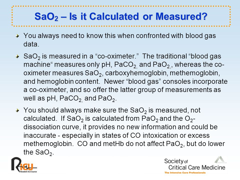 SaO2 – Is it Calculated or Measured