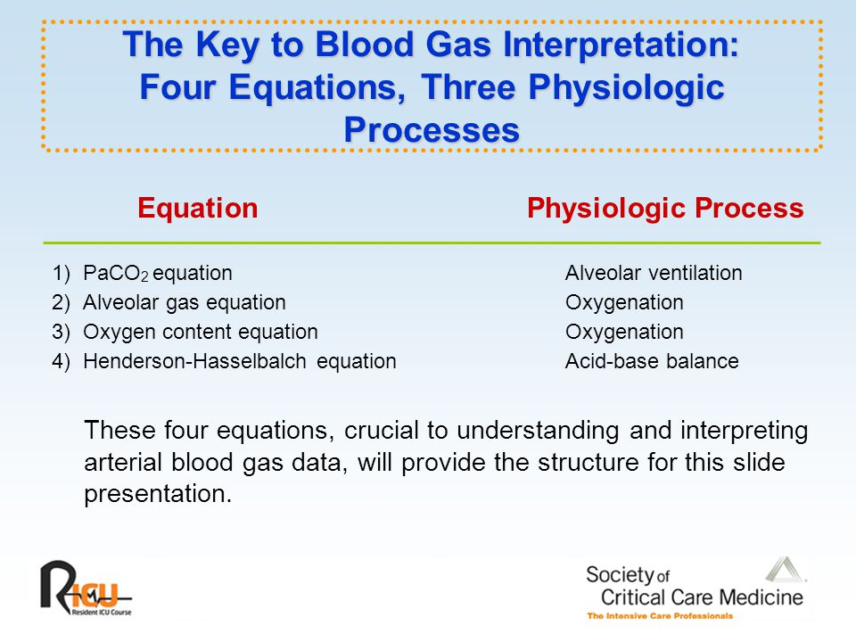 The Key to Blood Gas Interpretation: Four Equations, Three Physiologic Processes