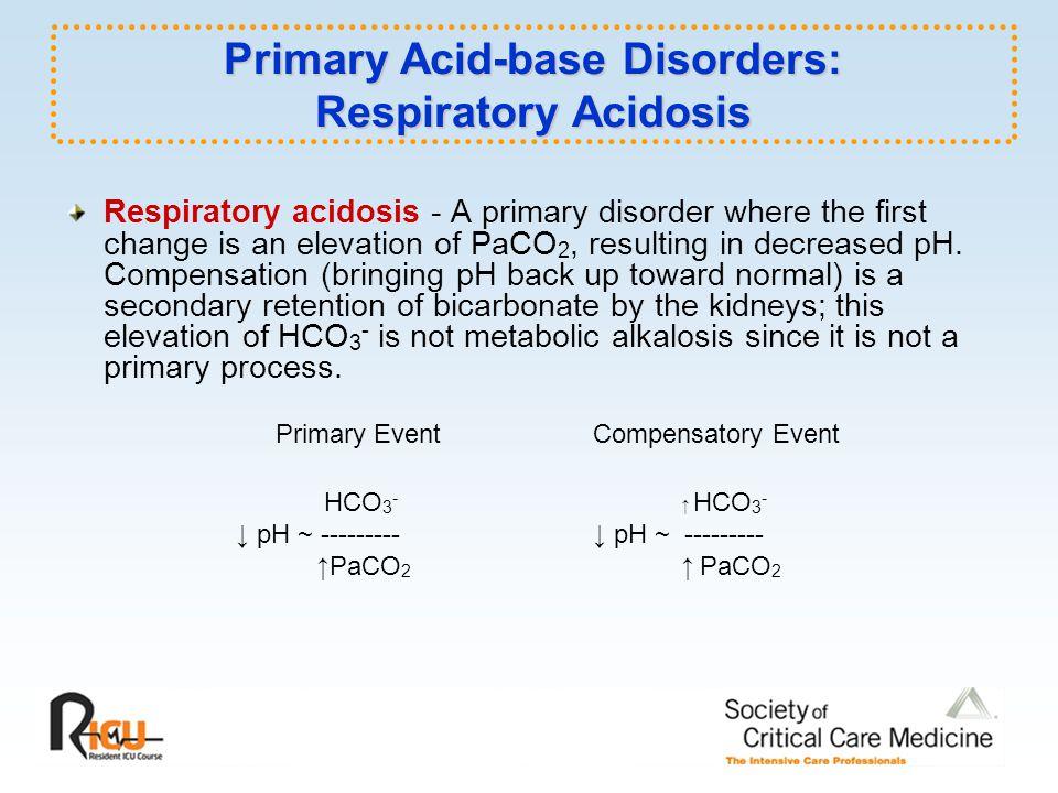 Primary Acid-base Disorders: Respiratory Acidosis