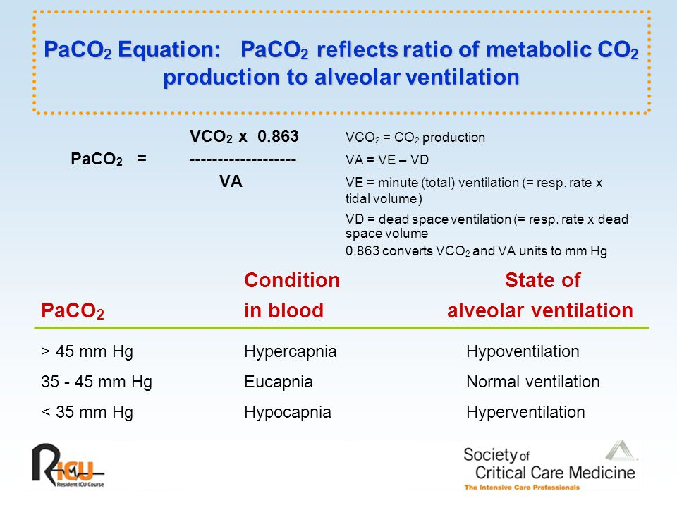 PaCO2 Equation: PaCO2 reflects ratio of metabolic CO2 production to alveolar ventilation