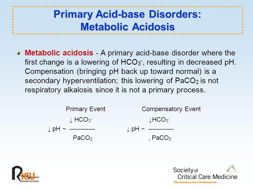 Primary Acid-base Disorders: Metabolic Acidosis