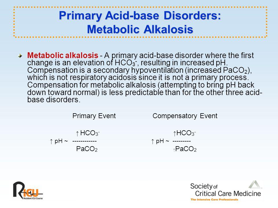 Primary Acid-base Disorders: Metabolic Alkalosis