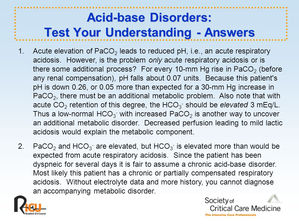 Acid-base Disorders: Test Your Understanding - Answers
