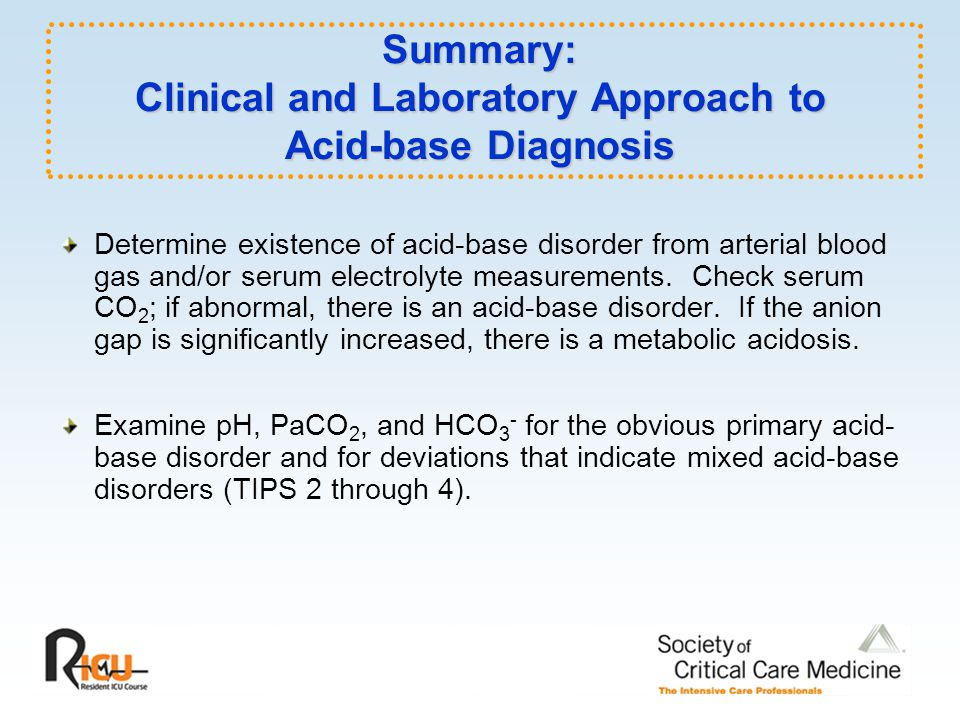 Summary: Clinical and Laboratory Approach to Acid-base Diagnosis