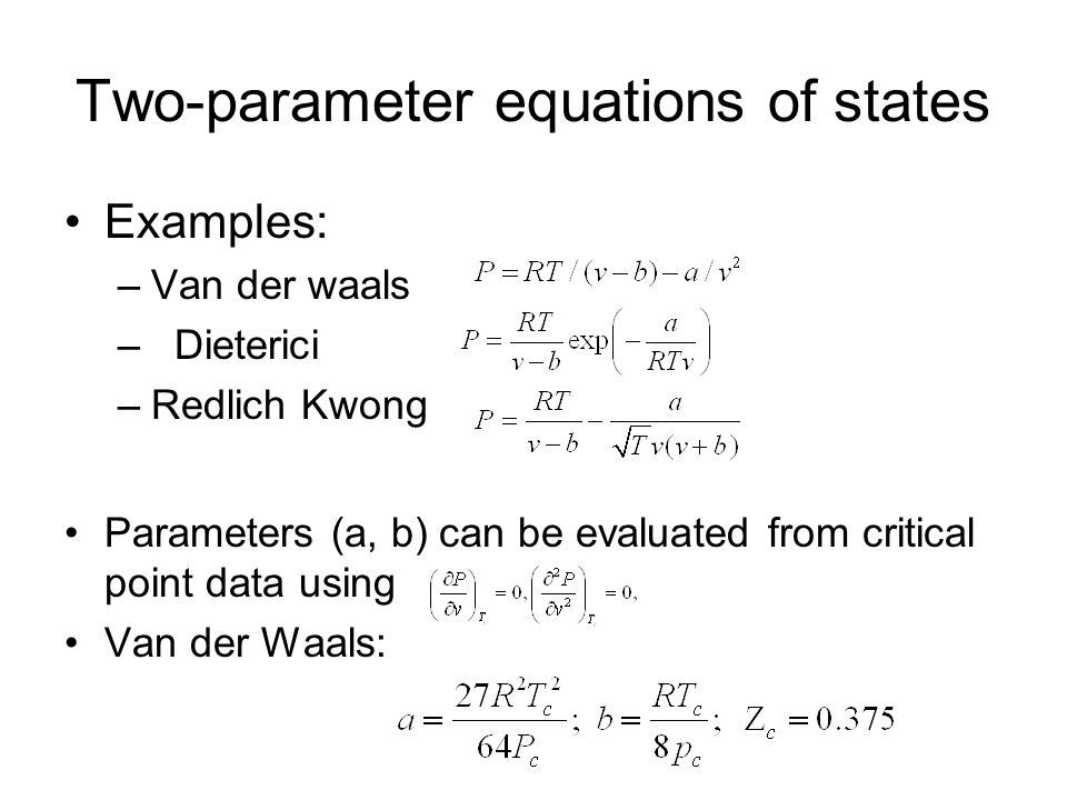 Two-parameter equations of states