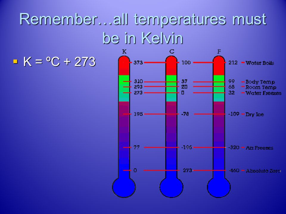 Remember…all temperatures must be in Kelvin