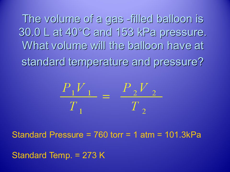 The volume of a gas -filled balloon is 30