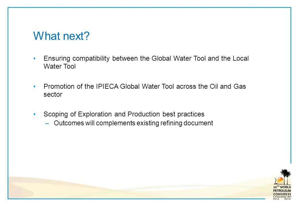 What next Ensuring compatibility between the Global Water Tool and the Local Water Tool.