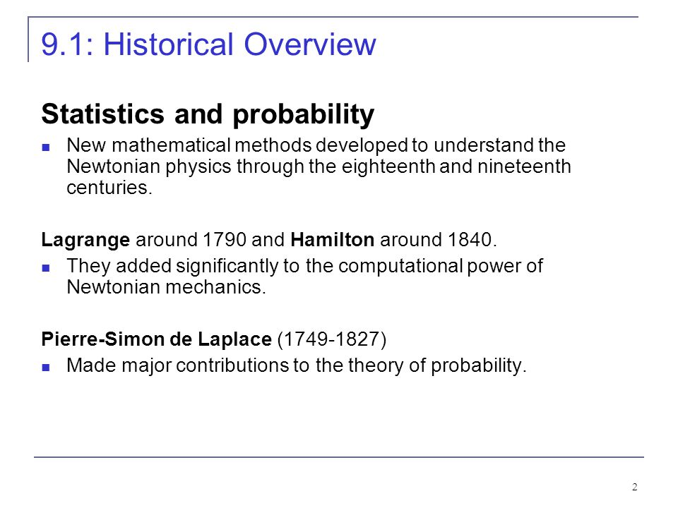 9.1: Historical Overview Statistics and probability