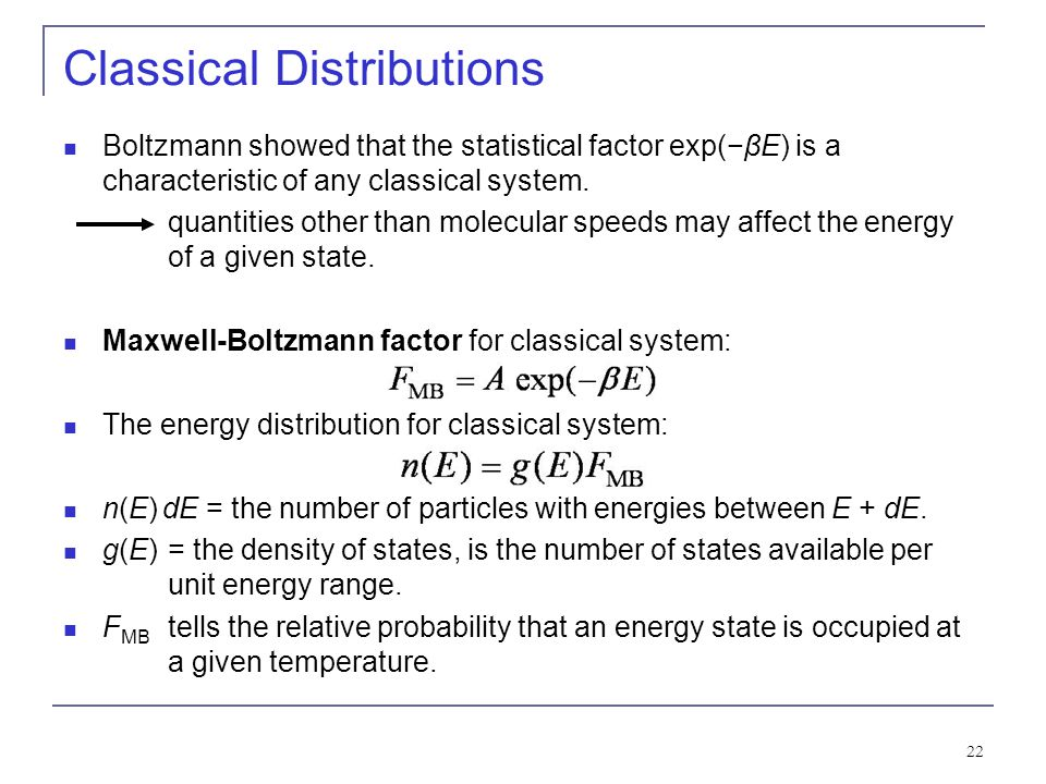 Classical Distributions