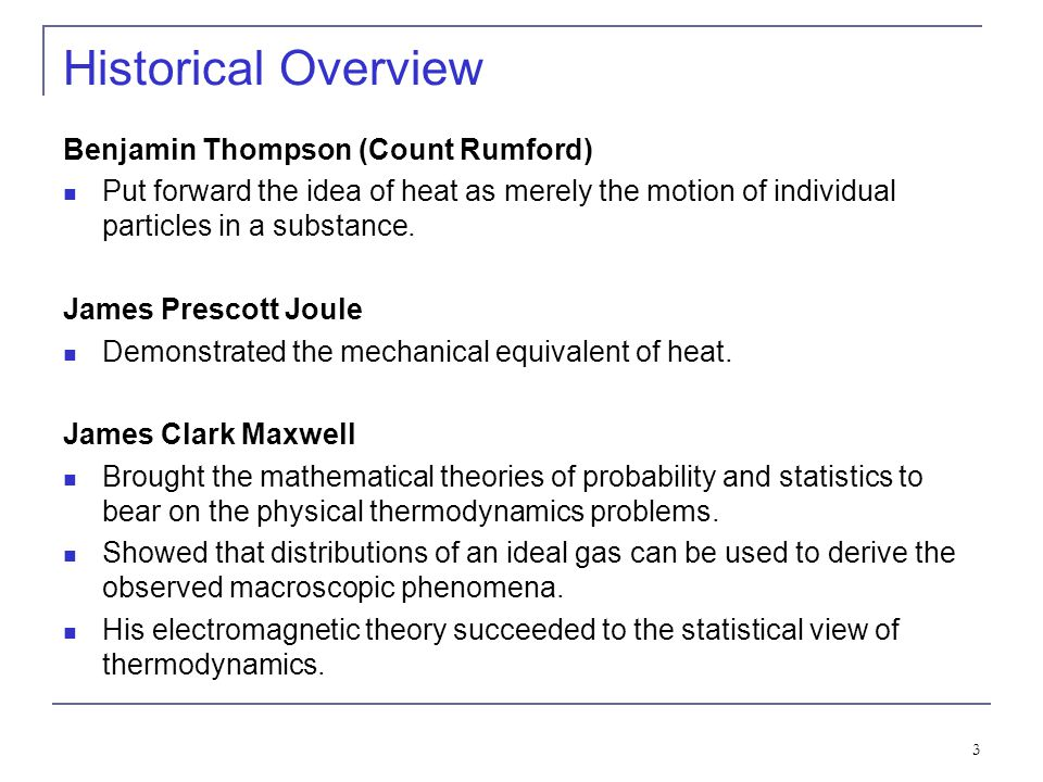 Historical Overview Benjamin Thompson (Count Rumford)