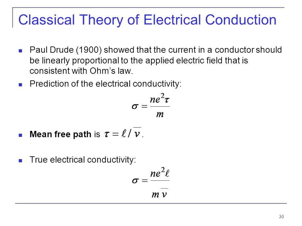Classical Theory of Electrical Conduction