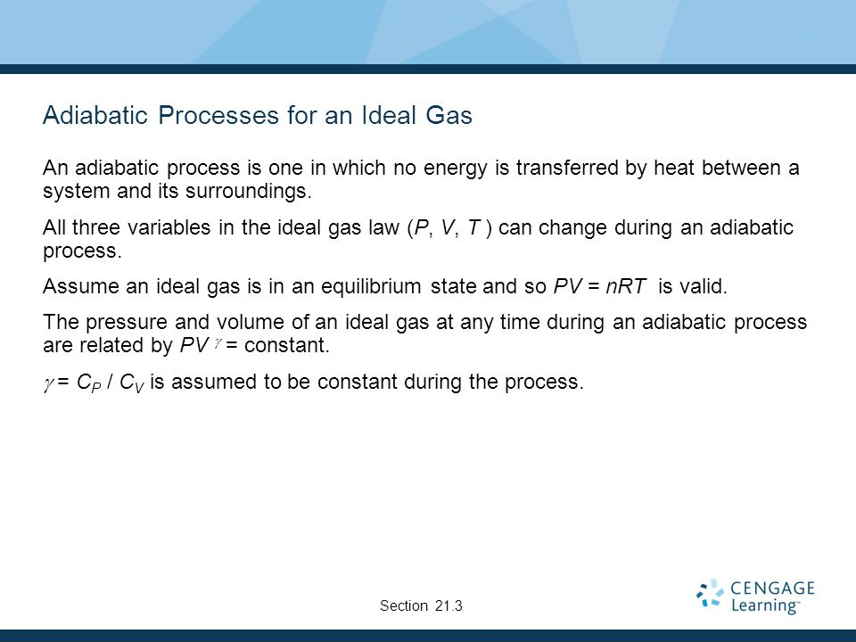 Adiabatic Processes for an Ideal Gas