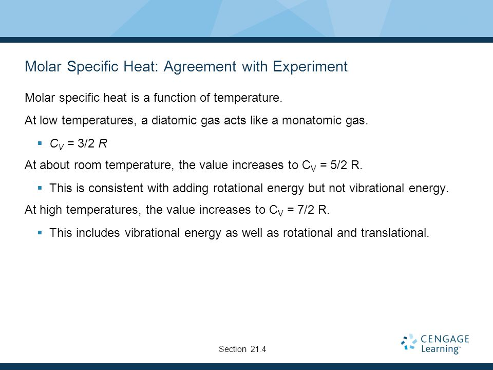 Molar Specific Heat: Agreement with Experiment