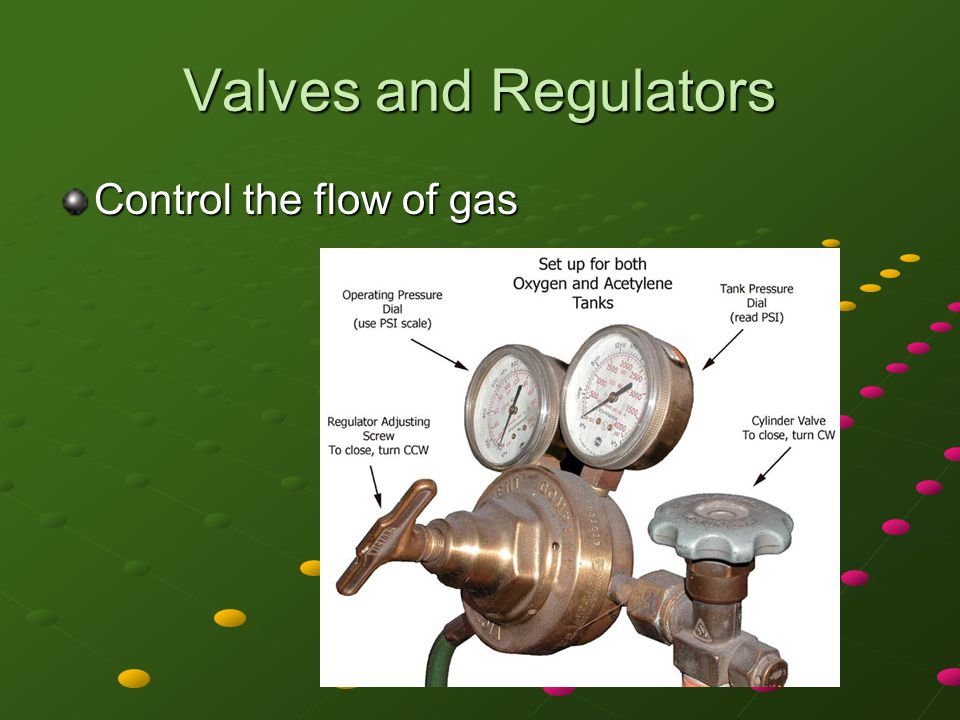 Valves and Regulators Control the flow of gas