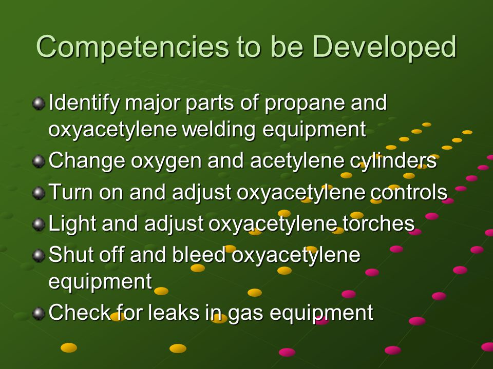 Competencies to be Developed