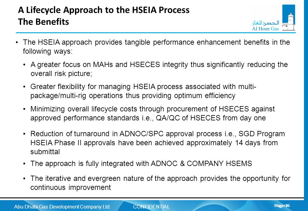 A Lifecycle Approach to the HSEIA Process The Benefits
