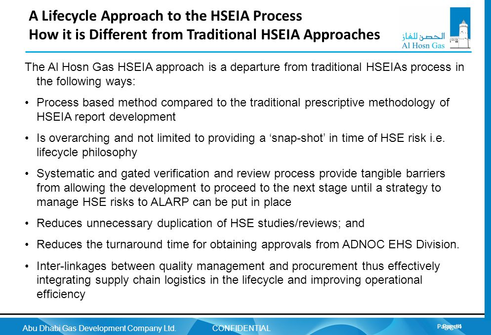 CONFIDENTIAL A Lifecycle Approach to the HSEIA Process How it is Different from Traditional HSEIA Approaches.