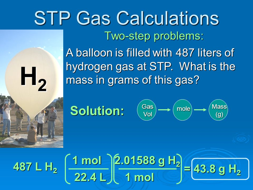 H2 STP Gas Calculations Solution: Two-step problems: