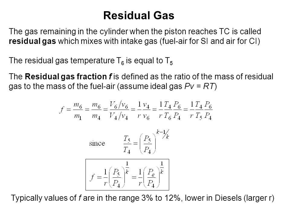 Residual Gas The gas remaining in the cylinder when the piston reaches TC is called.