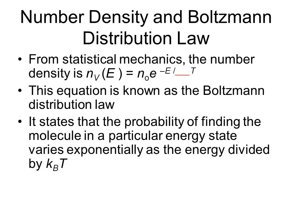 Number Density and Boltzmann Distribution Law