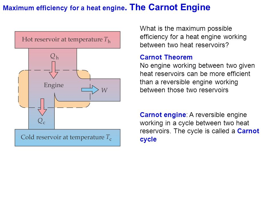 Maximum efficiency for a heat engine. The Carnot Engine