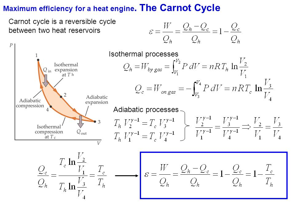 Maximum efficiency for a heat engine. The Carnot Cycle