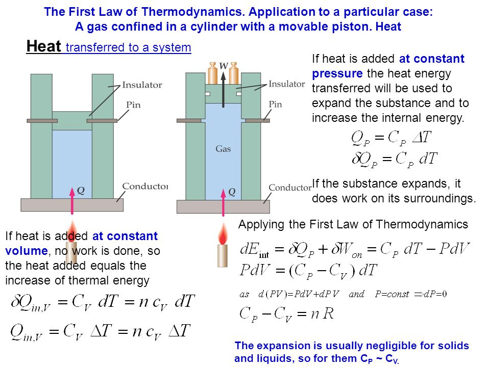 Heat transferred to a system