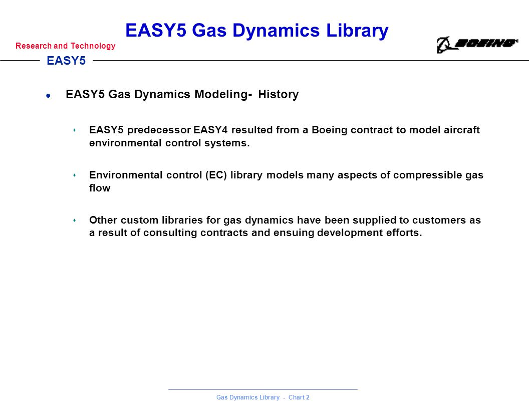 EASY5 Gas Dynamics Modeling- History