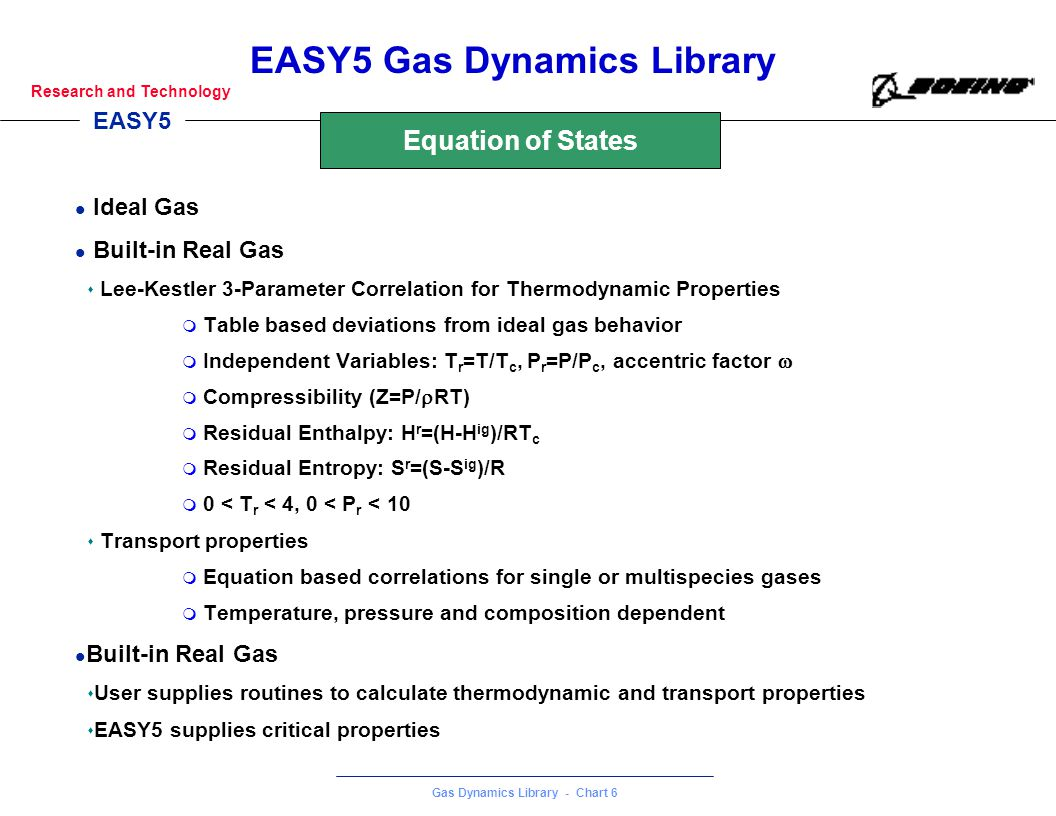 Equation of States Ideal Gas Built-in Real Gas