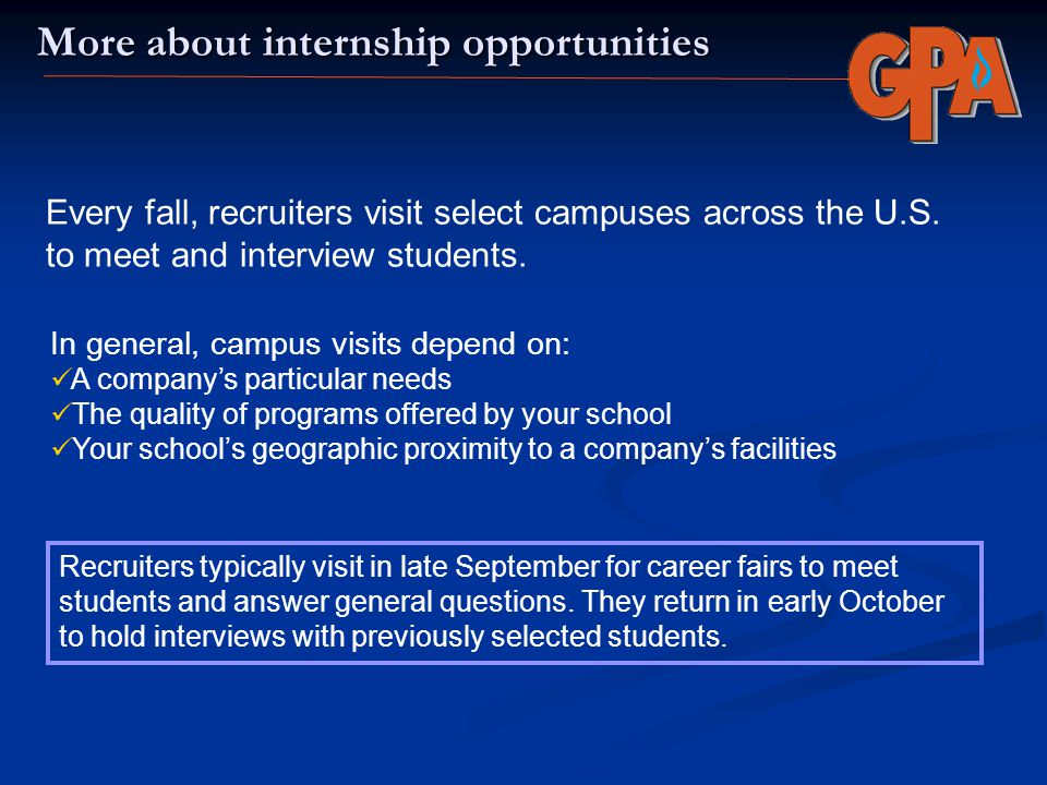 More about internship opportunities