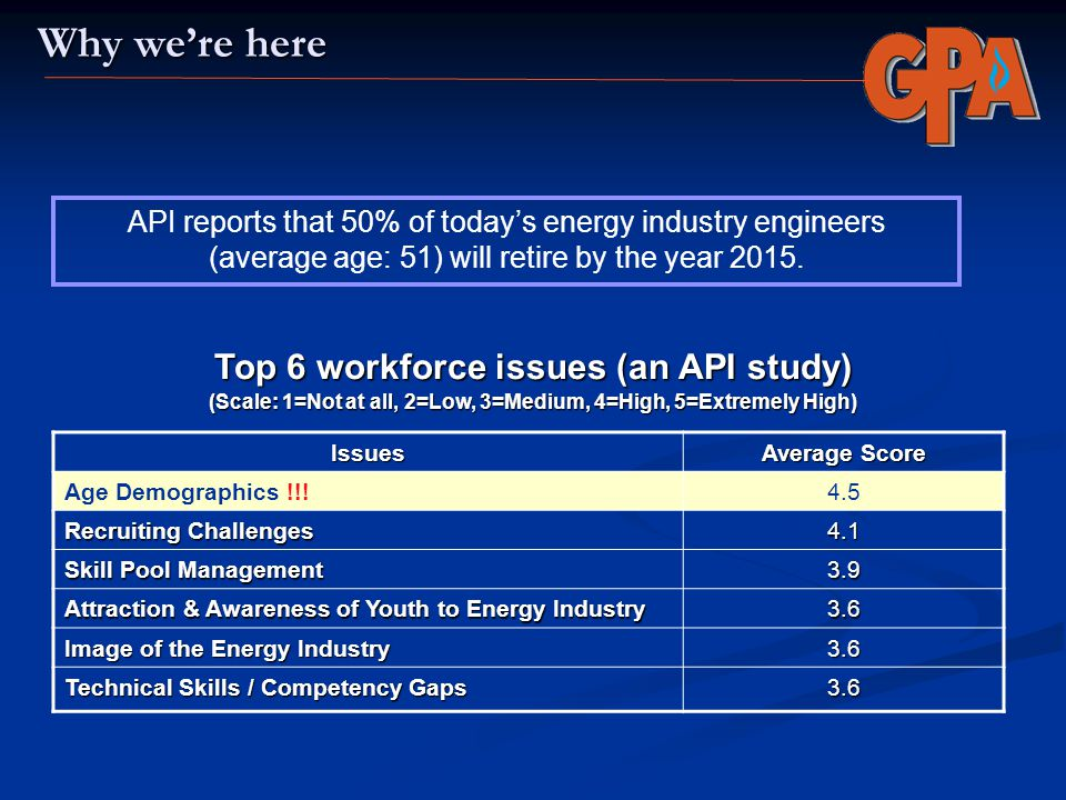 Why we're here Top 6 workforce issues (an API study)