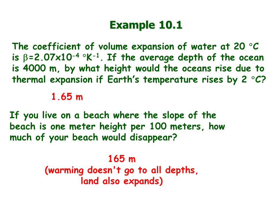 (warming doesn t go to all depths, land also expands)