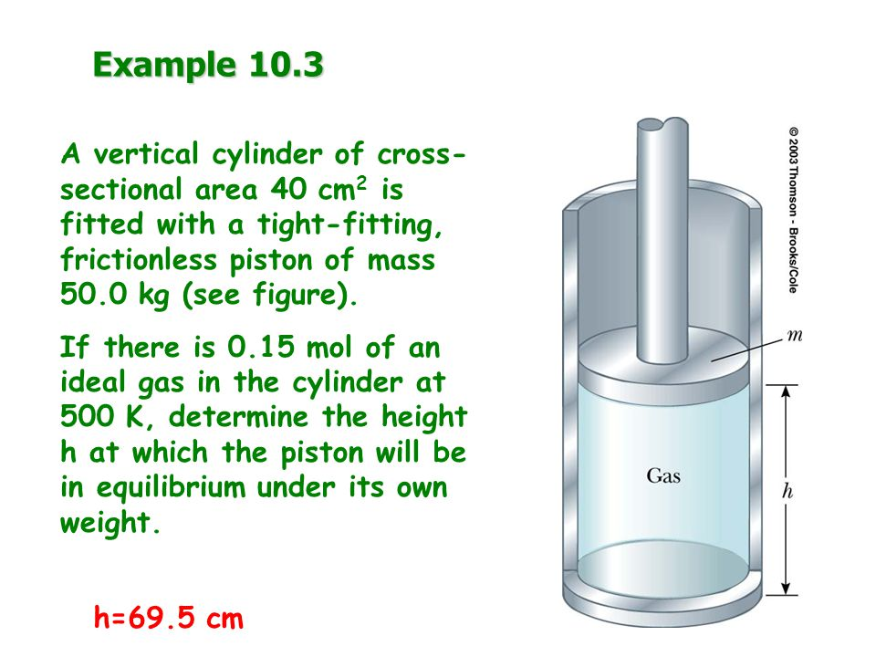 Example 10.3 A vertical cylinder of cross-sectional area 40 cm2 is fitted with a tight-fitting, frictionless piston of mass 50.0 kg (see figure).