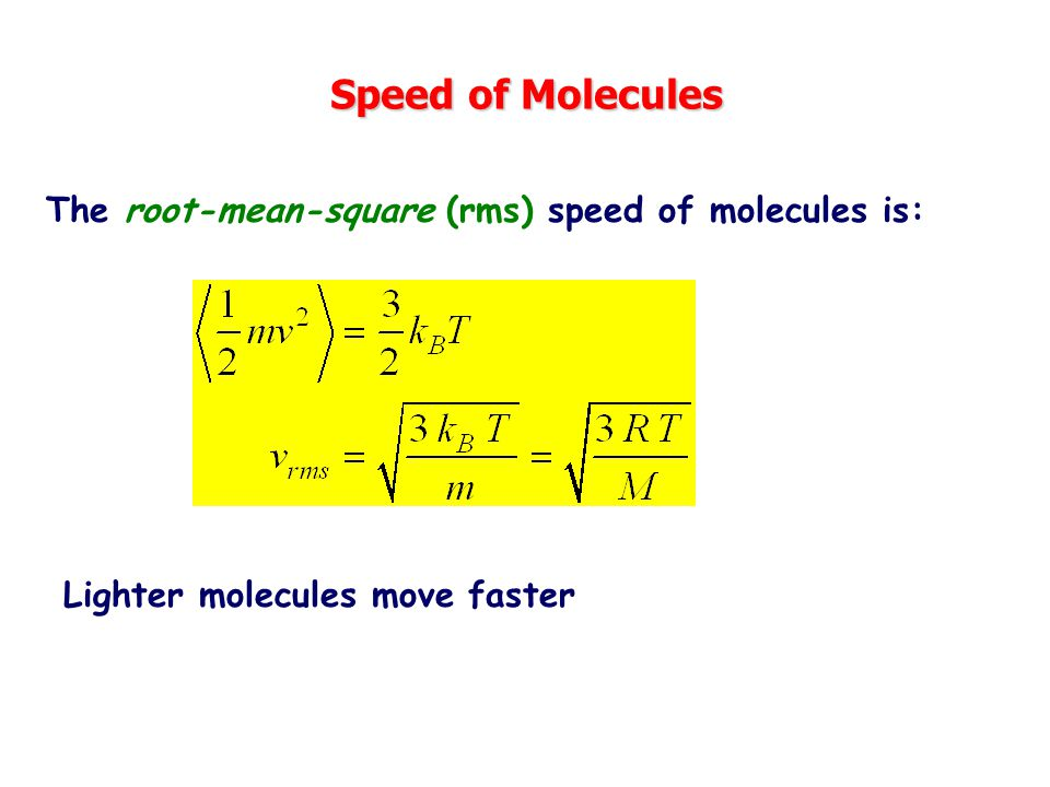 Speed of Molecules The root-mean-square (rms) speed of molecules is: