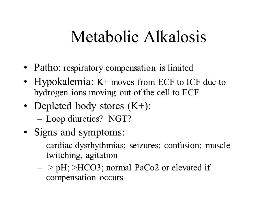 Metabolic Alkalosis Patho: respiratory compensation is limited