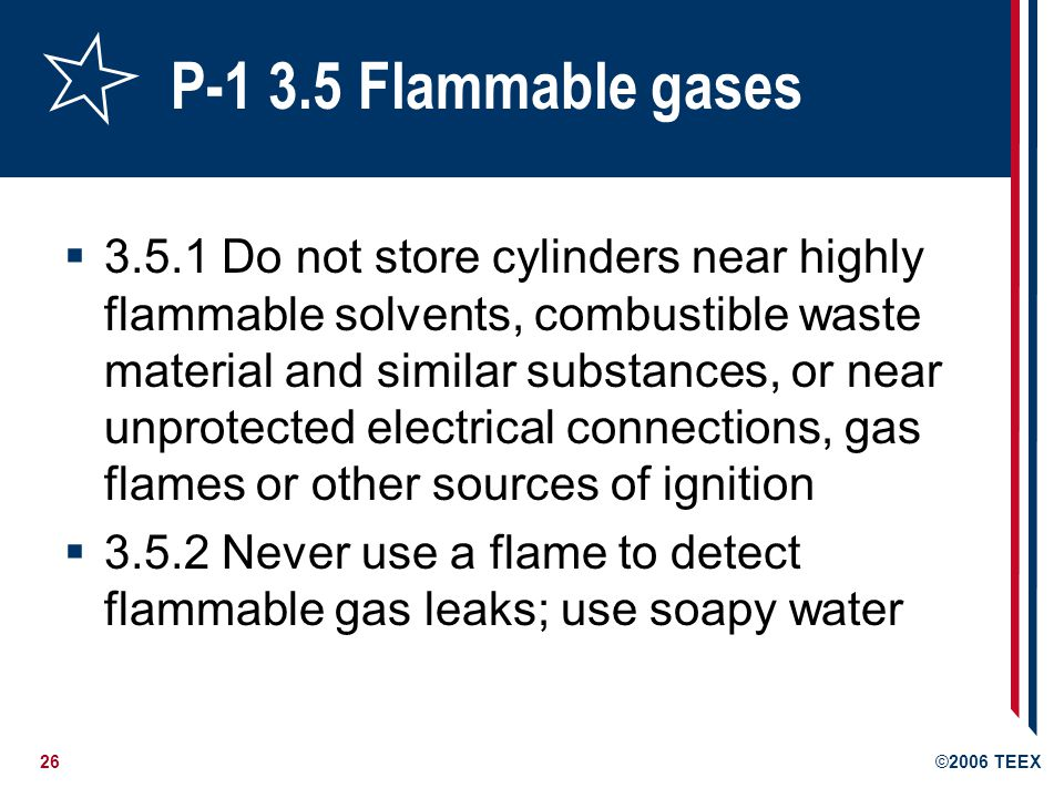 P-1 3.5 Flammable gases