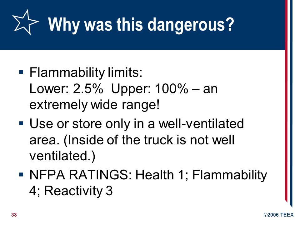 Why was this dangerous Flammability limits: Lower: 2.5% Upper: 100% – an extremely wide range!
