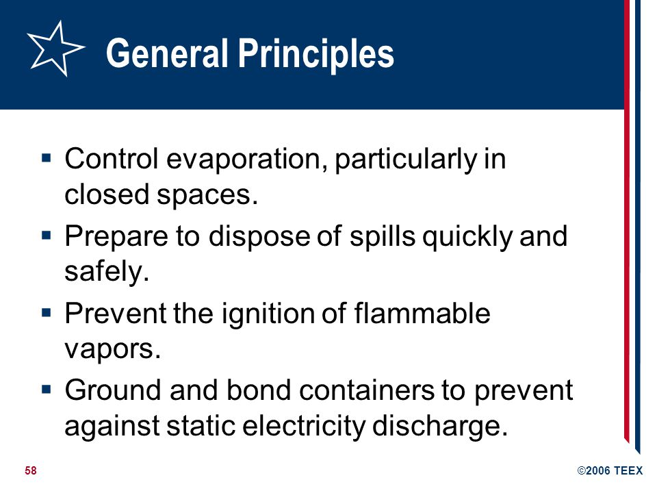 General Principles Control evaporation, particularly in closed spaces.