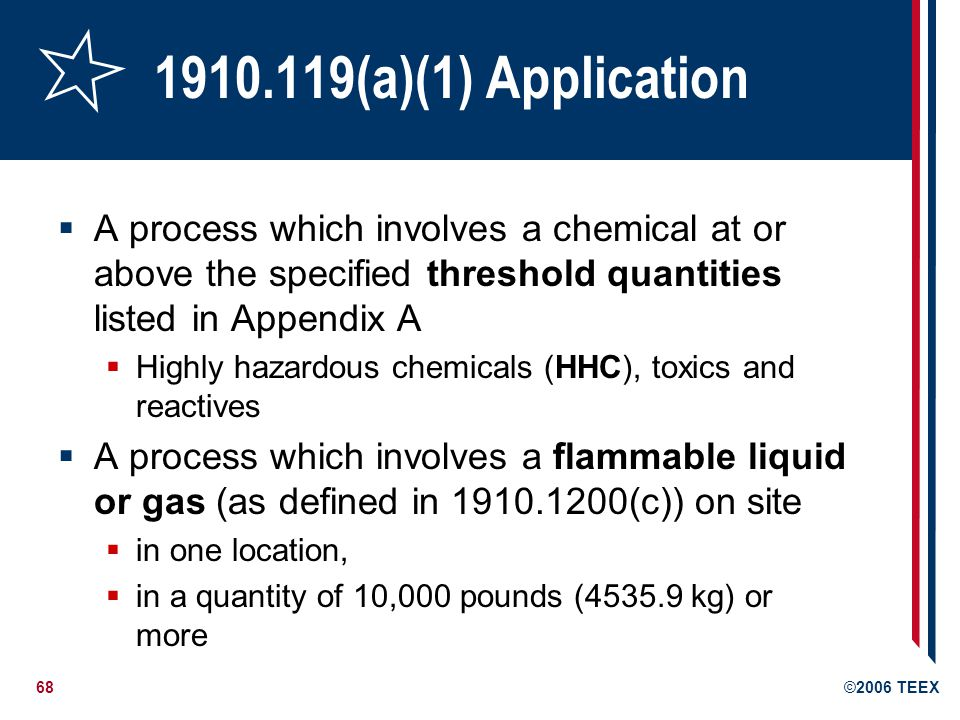 1910.119(a)(1) Application A process which involves a chemical at or above the specified threshold quantities listed in Appendix A.
