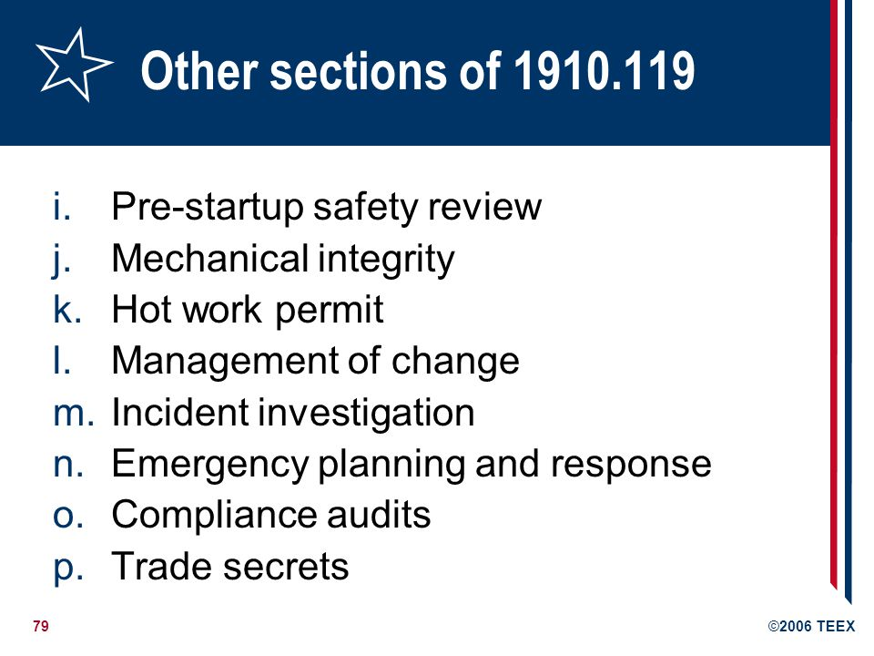 Other sections of 1910.119 Pre-startup safety review