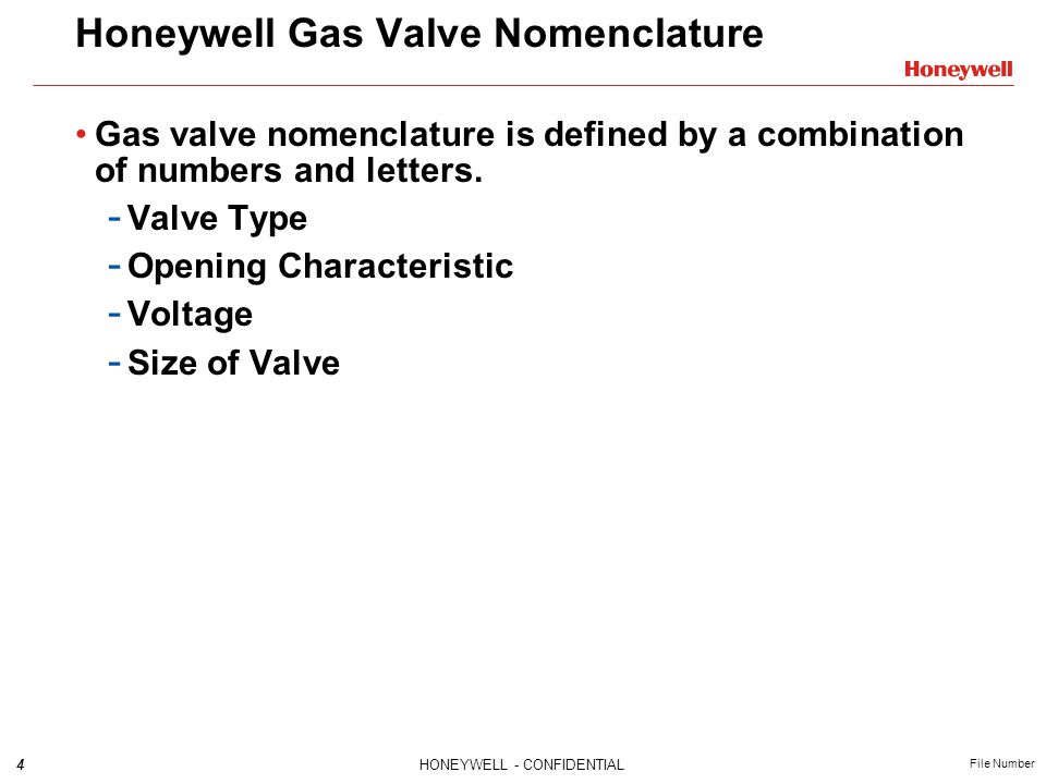 Honeywell Gas Valve Nomenclature