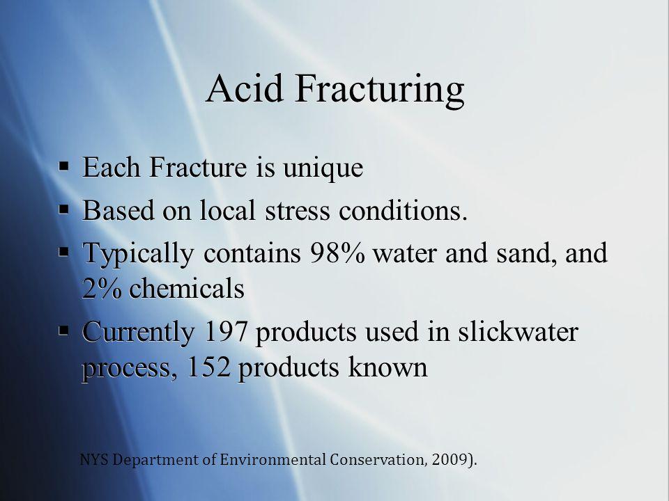 Acid Fracturing Each Fracture is unique
