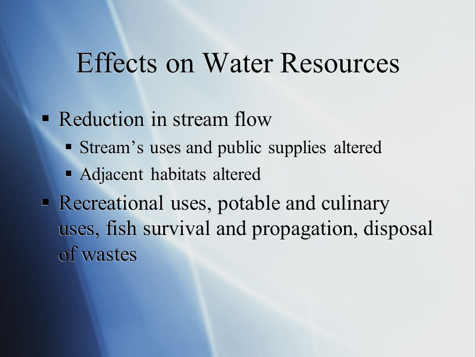 Effects on Water Resources