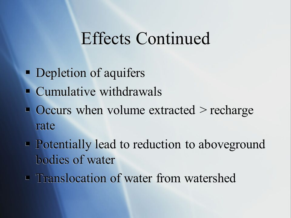 Effects Continued Depletion of aquifers Cumulative withdrawals
