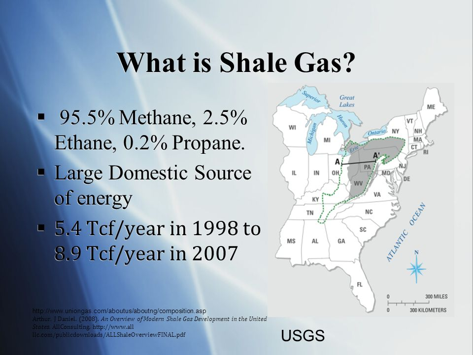 What is Shale Gas 95.5% Methane, 2.5% Ethane, 0.2% Propane.