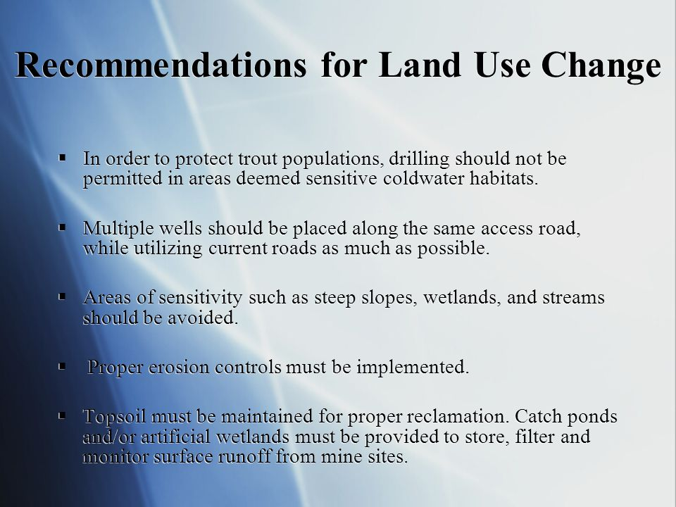 Recommendations for Land Use Change