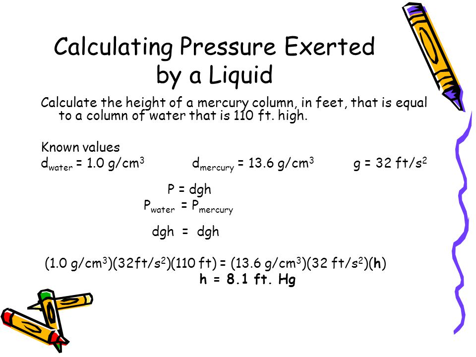 Calculating Pressure Exerted by a Liquid