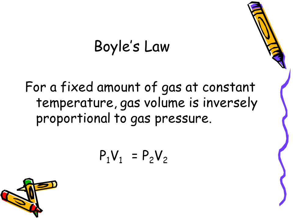 Boyle's Law For a fixed amount of gas at constant temperature, gas volume is inversely proportional to gas pressure.