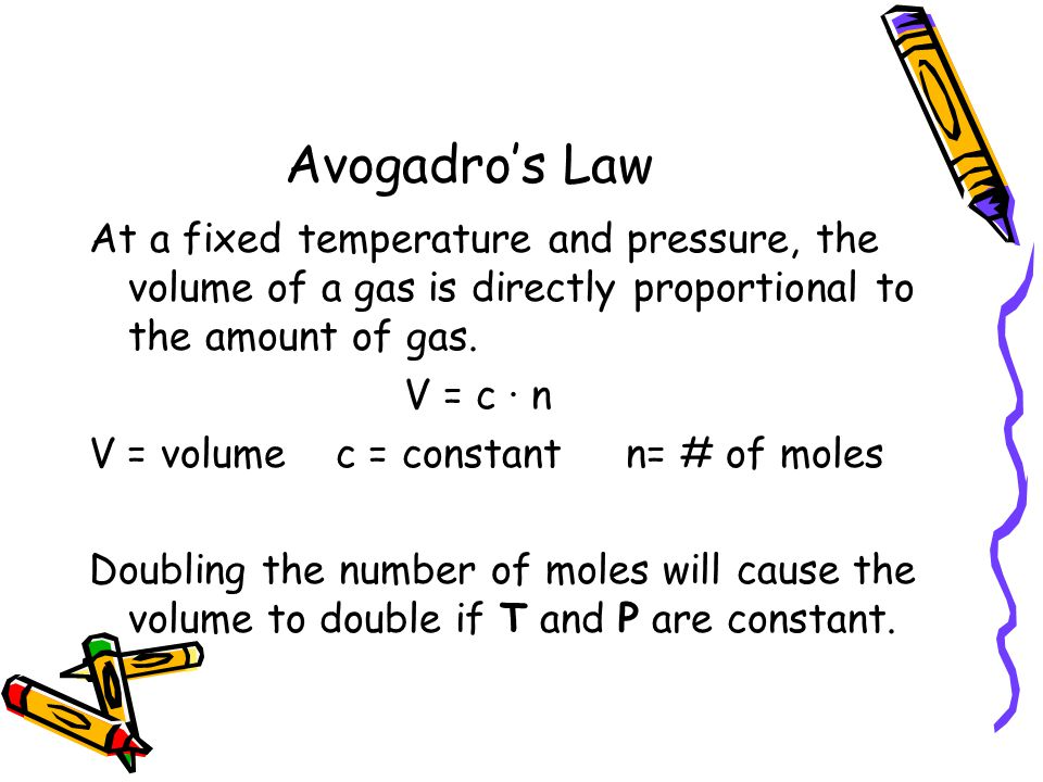 Avogadro's Law At a fixed temperature and pressure, the volume of a gas is directly proportional to the amount of gas.